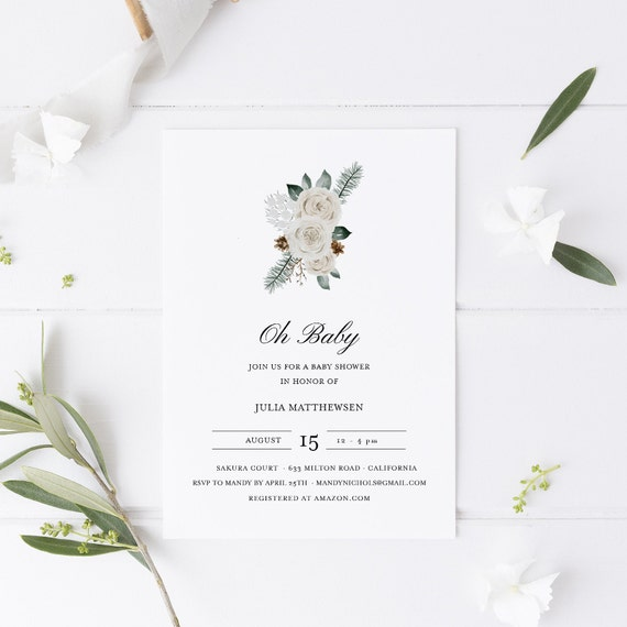 Flower Bouquet White Baby Shower Invitation - Editable Template - 5 x 7 - Card - Editable Invitation Templett - Download DIY