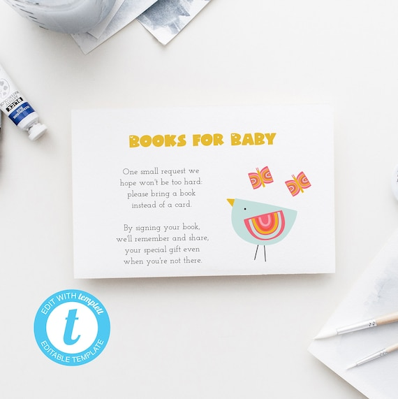 Books for Baby - Bird and Butterfly Playful - Editable Template - 5 x 3.5 inch - Edit Yourself Download - Jpeg & PDF options