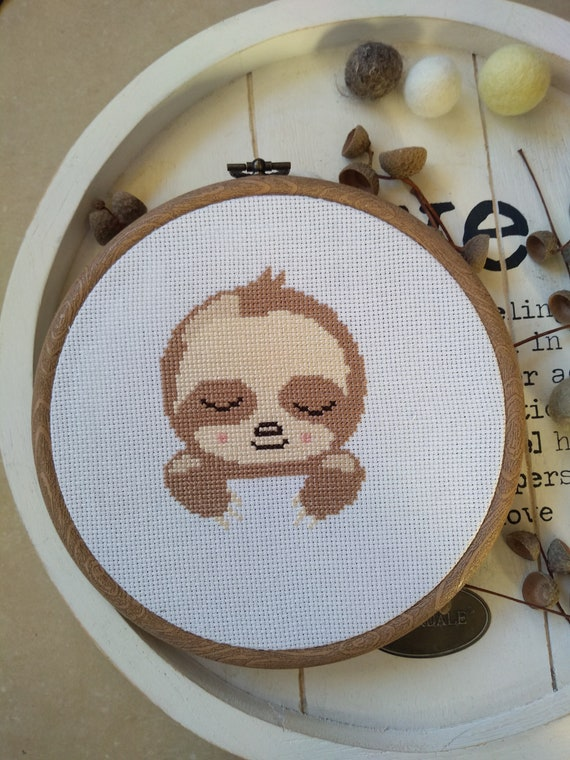 Sloth Head Animal Sleeping Chart Cross Stitch Pattern - Modern Cross Stitch - Childrens Decor Nursery - Instant Download -