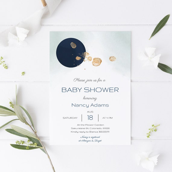 Modern Abstract Blue Moon Baby Shower Invitation - Editable Template - 5 x 7 - Card - Editable Invitation Templett - Download DIY