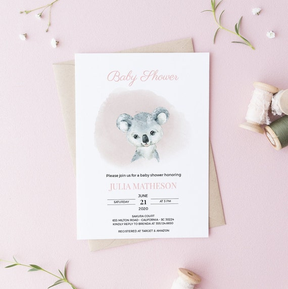 Watercolor Koala Baby Shower Invitation - Editable Template - 5 x 7 - Card - Editable Invitation Templett - Download - DIY