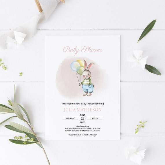 Bunny Balloons Rabbit Baby Shower Invitation - Editable Template - 5 x 7 - Card - Editable Invitation Templett - Download DIY