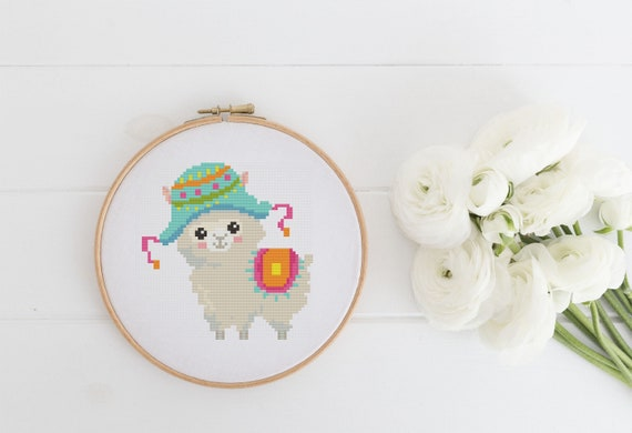 Lama Llama With Colorful Hat - Cross Stitch Pattern PDF Instant Download- Modern Cute Cross Stitch - Decor Needlecraft Pattern Hoop Art