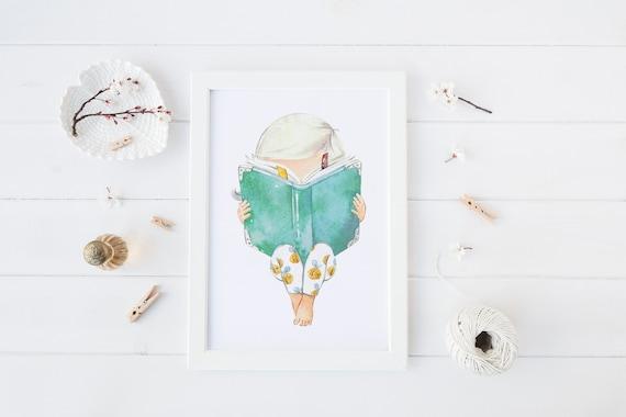 8 x 10 inch Girl Reading Book Print- Nursery Decor Print Wall Art Baby Girl - Boy Room Printable Decor - DIGITAL DOWNLOAD