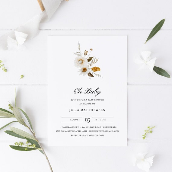 Flower Bouquet White Light Baby Shower Invitation - Editable Template - 5 x 7 - Card - Editable Invitation Templett - Download DIY