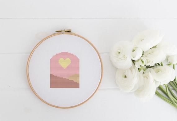 Modern Heart Landscape Quick Playful Project Chart Cross Stitch Pattern - Modern Cross Stitch - Childrens Decor Nursery