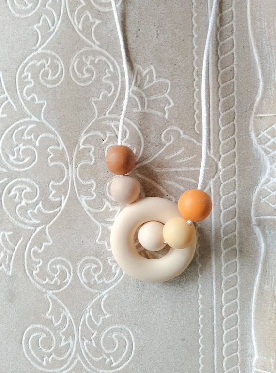Nursing Teething Necklace - Sunset - Silicone Beads - Teether Chewing Beads- Silicone Necklace