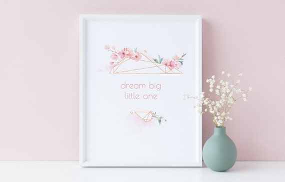 8 x 10 Dream Big Little One Girl Sakura Frame Quote Print- Nursery Decor, Kids Room Baby Wall Art Printable Decor - DIGITAL DOWNLOAD