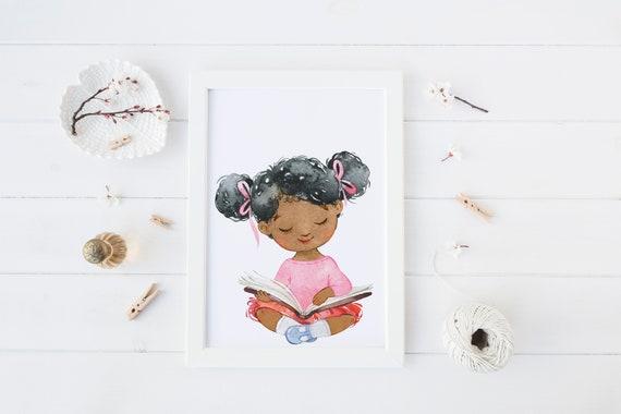 8 x 10 inch Girl Reading III Book Print- Nursery Decor Print Wall Art Baby Girl - Boy Room Printable Decor - DIGITAL DOWNLOAD