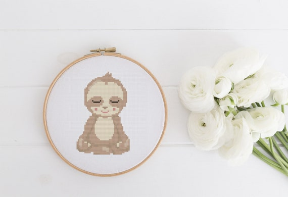 Meditating Sloth - Cross Stitch Pattern PDF Instant Download- Modern Cute Cross Stitch - Nursery Decor Needlecraft Pattern Hoop Art