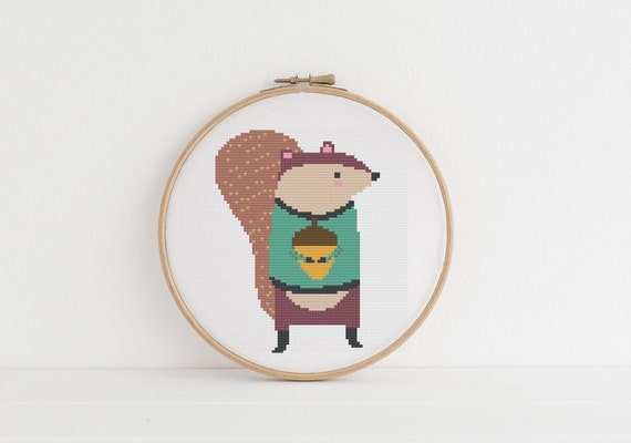 Squirrel With Nut - Cross Stitch Pattern PDF Instant Download- Modern Cute Cross Stitch - Nursery Decor Needlecraft Pattern Hoop Art