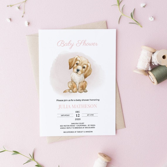 Watercolor Labrador Retriever Dog Baby Shower Invitation - DIGITAL FILE - 5 x 7 - Card - Download