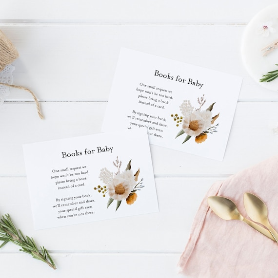 Books for Baby - Bouquet Flowers Watercolor - Editable Template - 5 x 3.5 inch - Card Watercolor - Edit Yourself Download - Jpeg & PDF