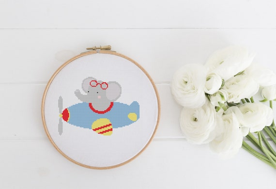 Elephant Pilot Flying Animal Pet Portrait Pattern - Cross Stitch Pattern - Modern Cross Stitch - Childrens Decor Nursery - Instant Download