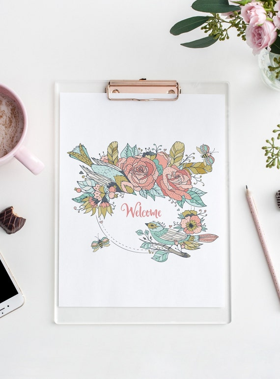 8 x 10 Welcome  Flower Bird Wreath Botanical Floral Print- Home Decor Wall Art - DIGITAL DOWNLOAD