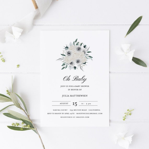 Flower Bouquet White Blue Baby Shower Invitation - Editable Template - 5 x 7 - Card - Editable Invitation Templett - Download DIY