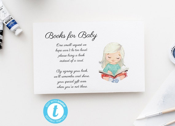 Books for Baby - Watercolor Girl Reading Book - Editable Template - 5 x 3.5 inch - Card - Edit Yourself Download - Jpeg & PDF options