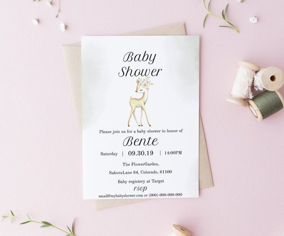 Watercolor Deer Baby Shower Invitation - Editable Template - 5 x 7 - Watercolor Card - Editable Invitation Templett - DIY