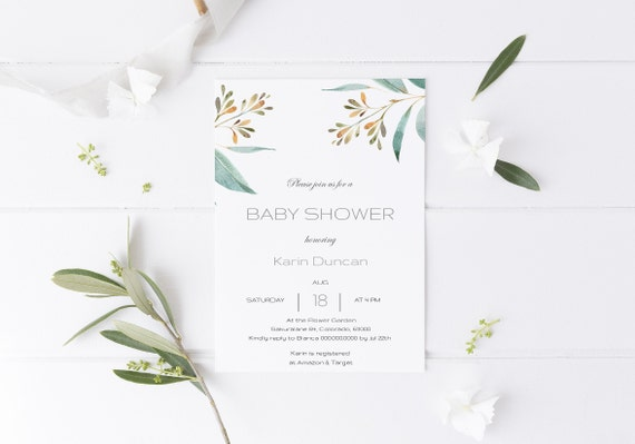 Watercolor Botanical Greenery Baby Shower Invitation - Editable Template - 5 x 7 - Card - Editable Invitation Templett - Download