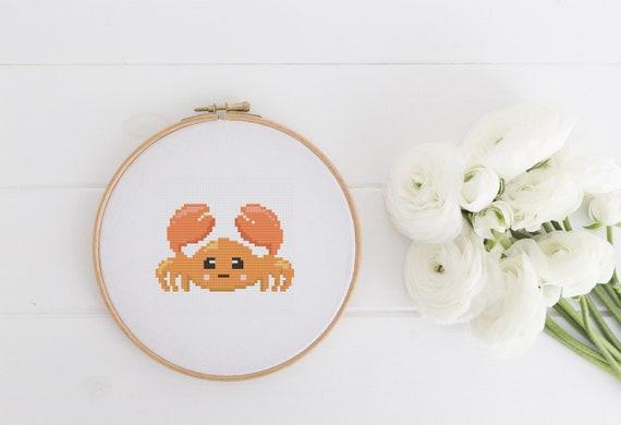 Crab - Sea Animal - Cross Stitch Pattern - Modern Cross Stitch - Childrens Decor Nursery - Instant Download - Home Decor