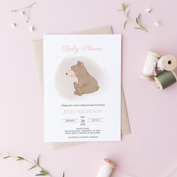 Sweet Bear Baby Shower Invitation - Editable Template - 5 x 7 - Card - Editable Invitation Templett - Download DIY