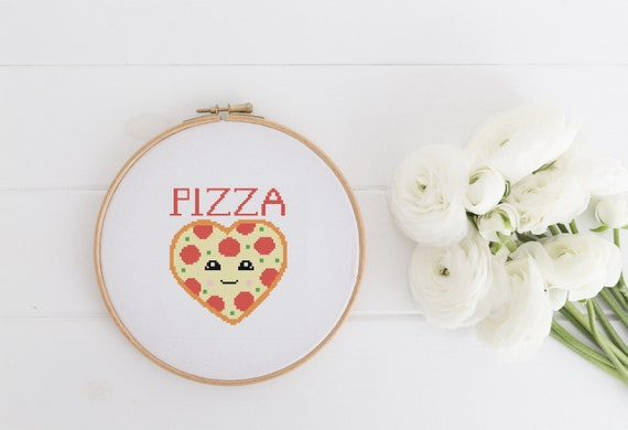Pizza Heart - Cross Stitch Pattern - Modern Cross Stitch - Childrens Decor Nursery - Instant Download - Home Decor