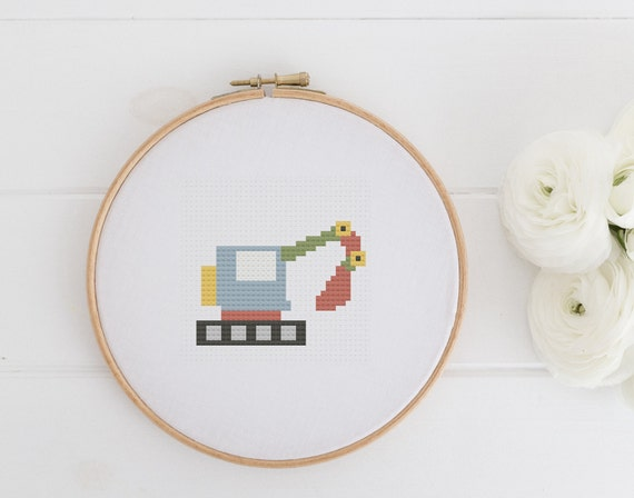 Little Excavator - Chart Cross Stitch Pattern - Modern Cross Stitch - Childrens Decor Nursery - Instant Download -