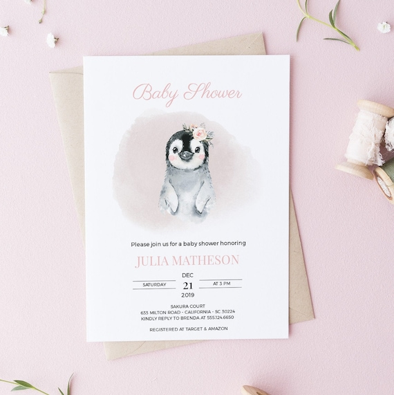 Watercolor Penguin Flower Baby Shower Invitation - Editable Template - 5 x 7 - Card - Editable Invitation Templett - Download
