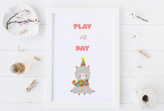 8 x 10 Play All Day - Llama Animal Print- Nursery Decor Wall Art Baby Girl - Boy Room Printable Decor - DIGITAL DOWNLOAD