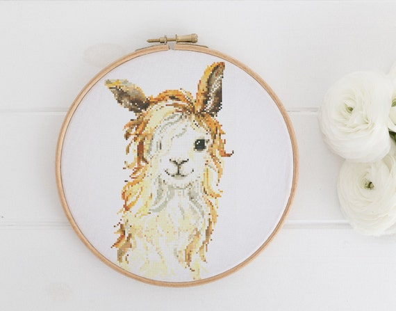 Watercolor Light Llama Animal  Chart - Cross Stitch Pattern - Modern Cross Stitch - Childrens Decor Nursery - Instant Download -