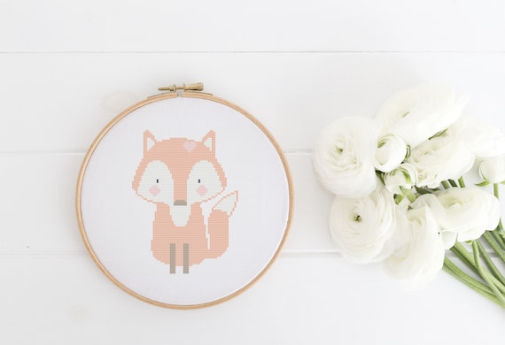 Red Fox Animal Portrait Pattern - Cross Stitch Pattern - Modern Cross Stitch - Childrens Decor Nursery - Instant Download
