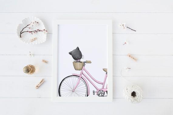 8 x 10 inch Cat in Basket Bike Pet Animal Print- Nursery Decor Print Wall Art Baby Girl - Boy Room Printable Decor - DIGITAL DOWNLOAD