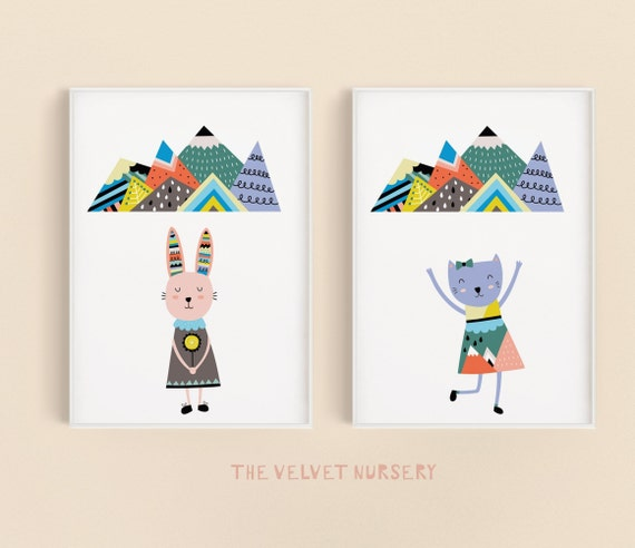 Scandinavian Bunny and Cat Girl Set - Boho Nursery Print Wall Art Home Decor Baby Girl - Boy Room Printable - DIGITAL DOWNLOAD