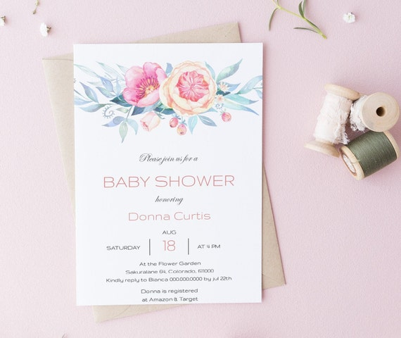 Watercolor Flower Wreath Floral Baby Shower Invitation - Editable Template - 5 x 7 - Card - Editable Invitation Templett - Download