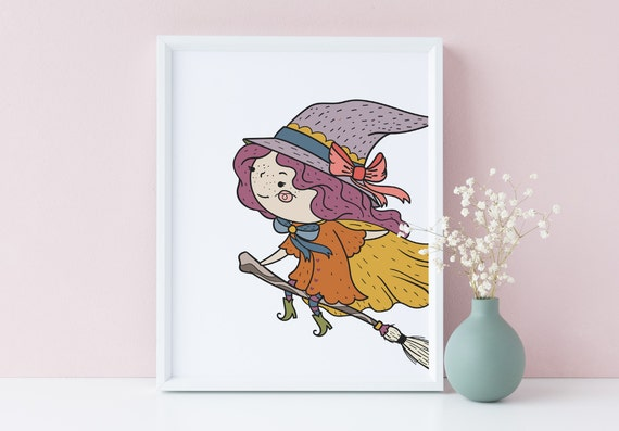 8 x 10 Halloween Flying Witch - Nursery Print- Nursery Kids Room Baby Wall Art Decor - DIGITAL DOWNLOAD