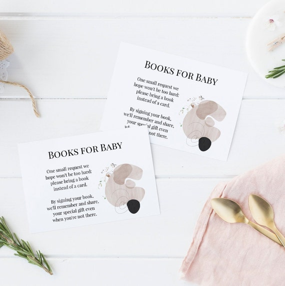 Books for Baby - Modern Abstract Flowers Floral - Editable Template - 5 x 3.5 inch - Card - Edit Yourself Download - Jpeg & PDF options