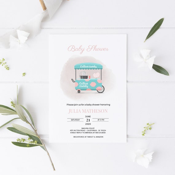 Modern Cotton Candy Food Truck Baby Shower Invitation - Editable Template - 5 x 7 - Card - Editable Invitation Templett - Download - DIY