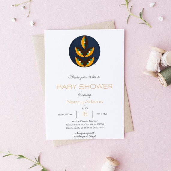Modern Abstract Leaves Scandinavian Baby Shower Invitation - Editable Template - 5 x 7 - Card - Editable Invitation Templett - Download DIY