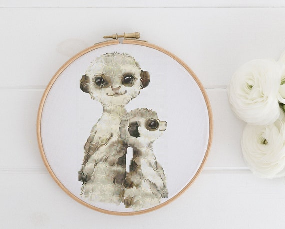 Watercolor Meerkats Meerkat Animal Chart - Cross Stitch Pattern - Modern Cross Stitch - Childrens Decor Nursery - Instant Download -