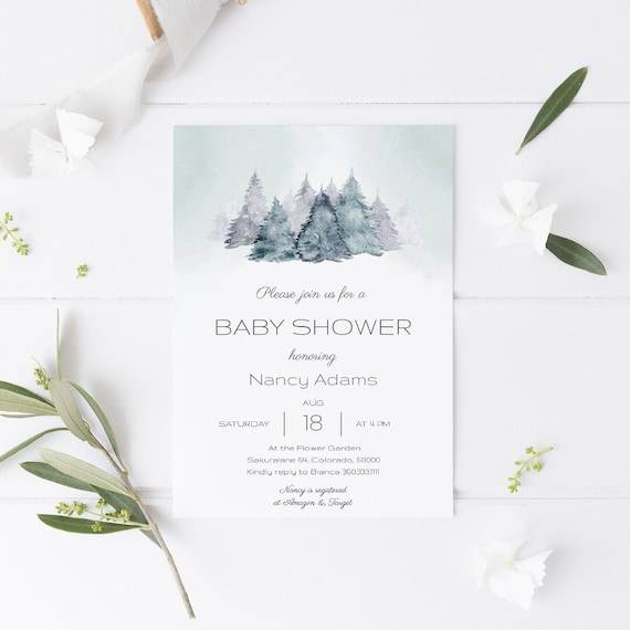 Watercolor Forest Trees Neutral Baby Shower Invitation - Editable Template - 5 x 7 - Card - Editable Invitation Templett - Download DIY