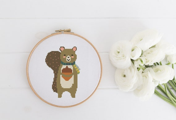 Winter Squirrel - Cross Stitch Pattern - Modern Cross Stitch - Childrens Decor Nursery - Instant Download - Home Decor