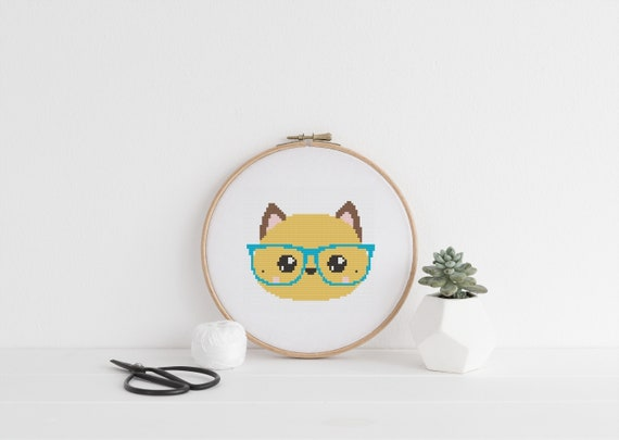 Cat with Glasses Animal Pet Portrait Pattern - Cross Stitch Pattern - Modern Cross Stitch - Childrens Decor Nursery - Instant Download