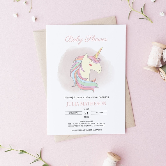 Rainbow Unicorn Baby Shower Invitation - Editable Template - 5 x 7 - Card - Editable Invitation Templett - Download DIY