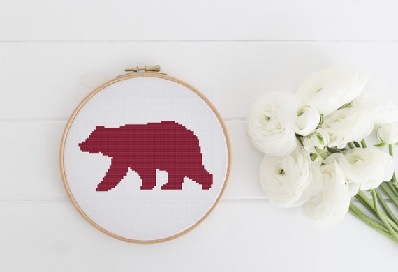 Monochrome Woodland Bear Silhouette - Cross Stitch Pattern - Modern Cross Stitch - Childrens Decor Nursery - Instant Download -