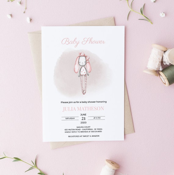 Bunny Ragdoll Baby Shower Invitation - Editable Template - 5 x 7 - Card - Editable Invitation Templett - Download - DIY