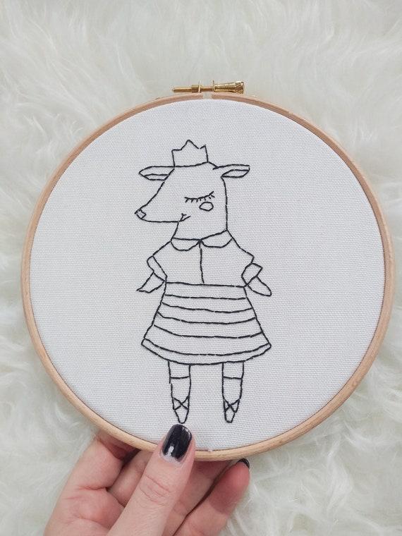 Deer - Embroidery Wall Hoop Art - MADE TO ORDER - Nursery Kids Art- Monochrome