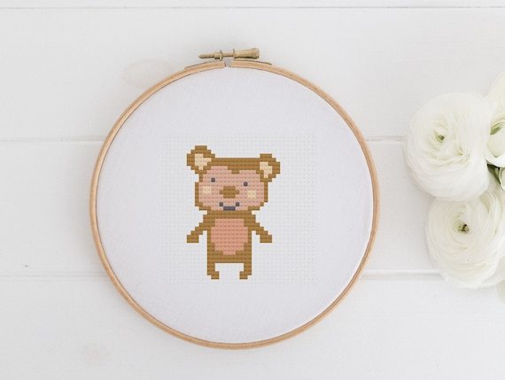 Little Monkey - Animal Chart Cross Stitch Pattern - Modern Cross Stitch - Childrens Decor Nursery - Instant Download -