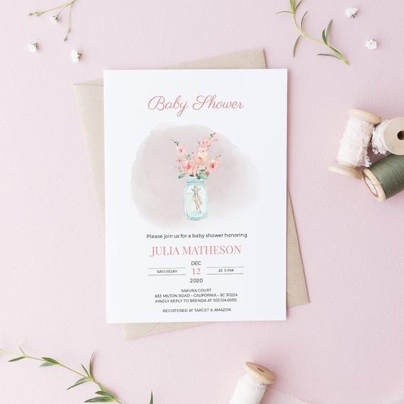 Watercolor Flower Vase Baby Shower Invitation - Editable Template - 5 x 7 - Card - Editable Invitation Templett - Download DIY