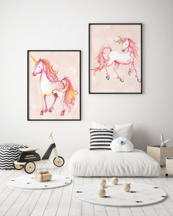 8 x 10 Pink Unicorns Set - Boho Nursery Decor Print Wall Art Watercolor Baby Girl Room Printable Decor