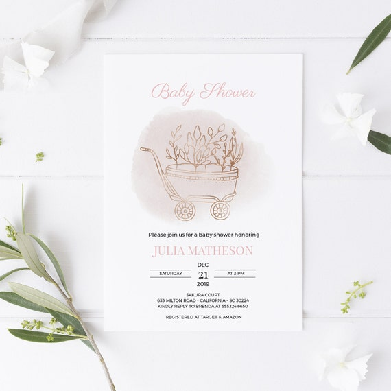 Pink Plant Trolley Baby Shower Invitation - Editable Template - 5 x 7 - Card - Editable Invitation Templett - Download